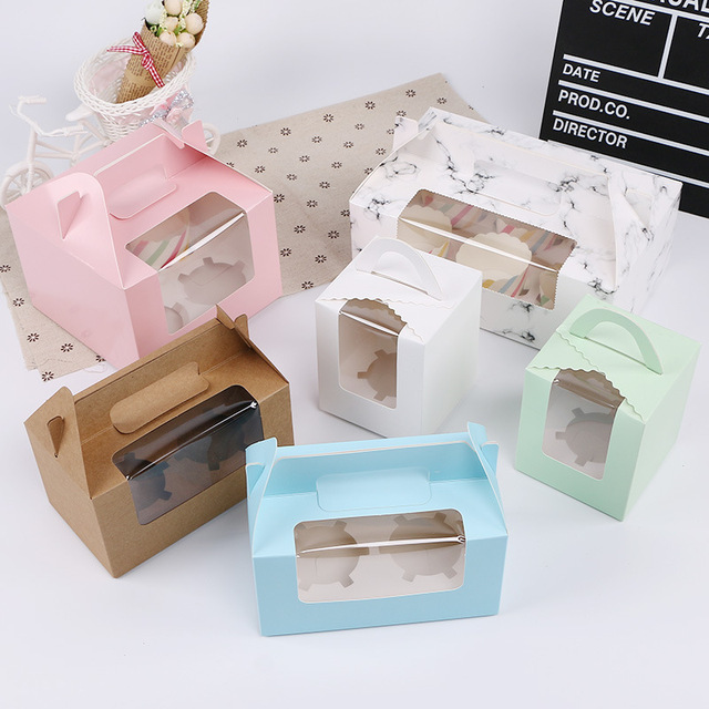 Wholesale Takeaway Transparent Cake Paper Gift Box cupcake boxes with window