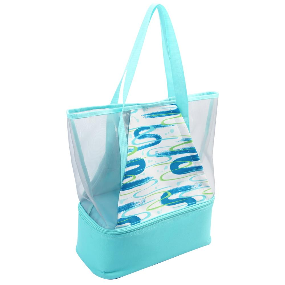 Портативная сетчатая пляжная сумка с кулером