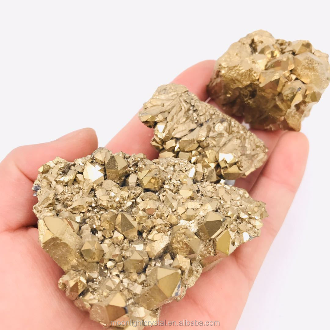 raw natural gold aura cluster flame titanium quartz stone crystal cluster geode on sale
