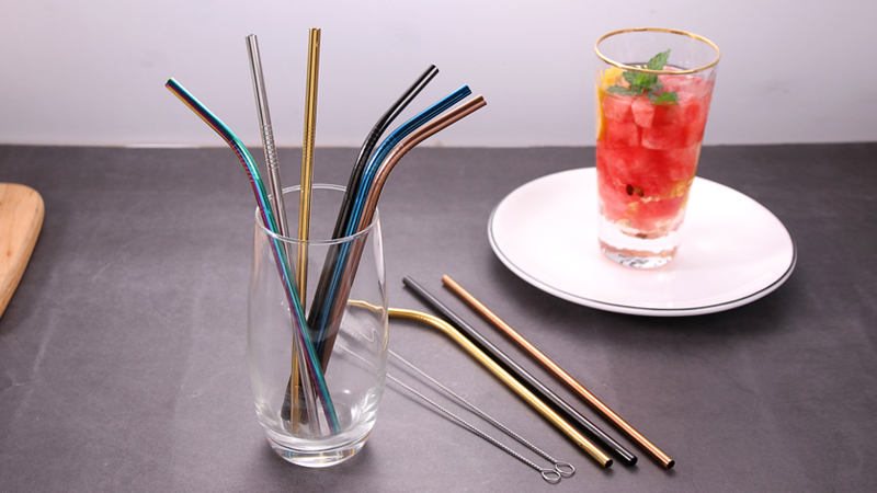 2 Straight 1 Bent Set of 3 Reusable Metal SS304 Colored Stainless Steel Straws Set