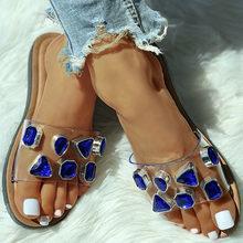 DORATASIA/Новые модные Модные прозрачные шлепанцы на низком каблуке, летние шлепанцы, женские стильные Украшенные стразами туфли(Китай)