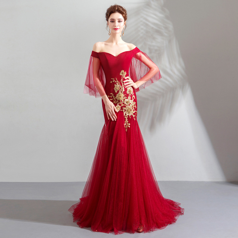 2019 red fishtail gowns evening dress fishtail dress cocktail dress