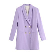 [DEAT] Женский офисный двубортный однотонный Блейзер, новая свободная куртка с отворотом и длинным рукавом, модная демисезонная куртка 2020 13T809(Китай)