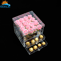 Promotional Large Luxury Acrylic Flower Box Clear Acrylic Flower Box With Drawer Rectangle Acrylic Packing Box
