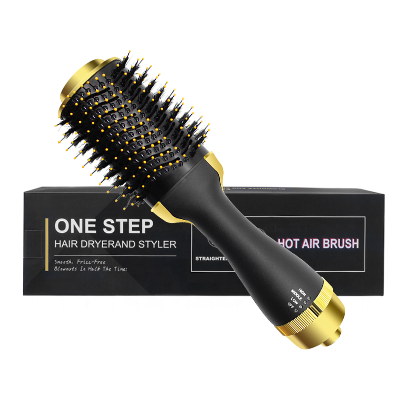 Hair dryer brush with CE and RoHS (Black+Gold)