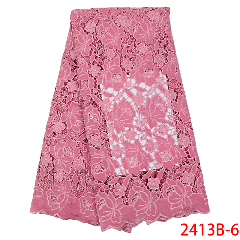 Wholesale 2019 Elegant Velvet Guipure Fabric Lace Fabric Corded Fabric Lace for Women