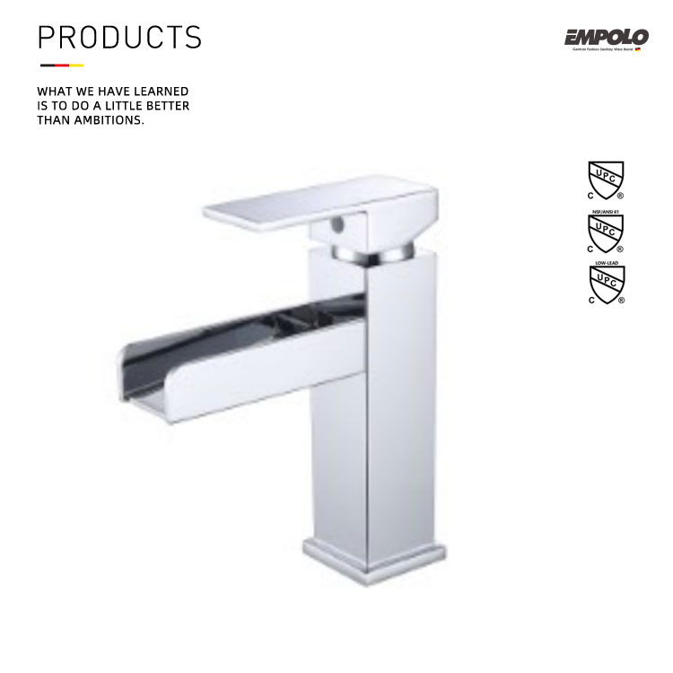High Quality Bathroom Single Handle Chrome Brass Tap Water Fall Wash Basin Faucet
