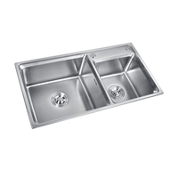 High Level Custom Double Bowls Kitchen Basin Sink Stainless Steel 304