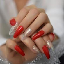 Панк Серебряный матовый черный 3D пресс на накладные ногти Экстра длинный гроб балерины матовый клей без пальцев клейкие ленты(Китай)