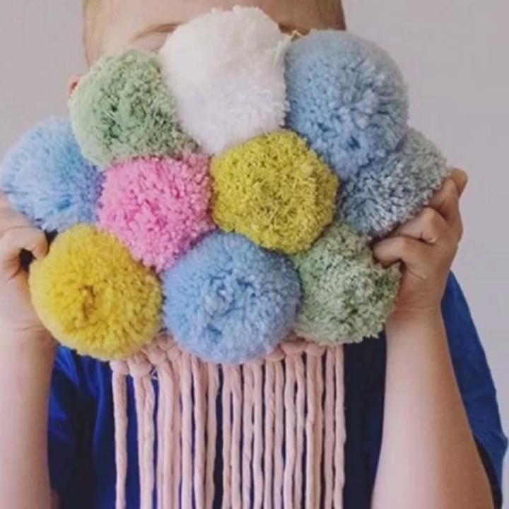 Kinderkamer Decoratieve Hanger Kwastje Muur Opknoping Hand Geweven Polychrome Wol Bal