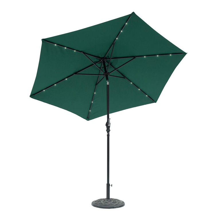 Straight pole umbrella with led light 9' Round Solar Lighted Umbrella - 6 Rib