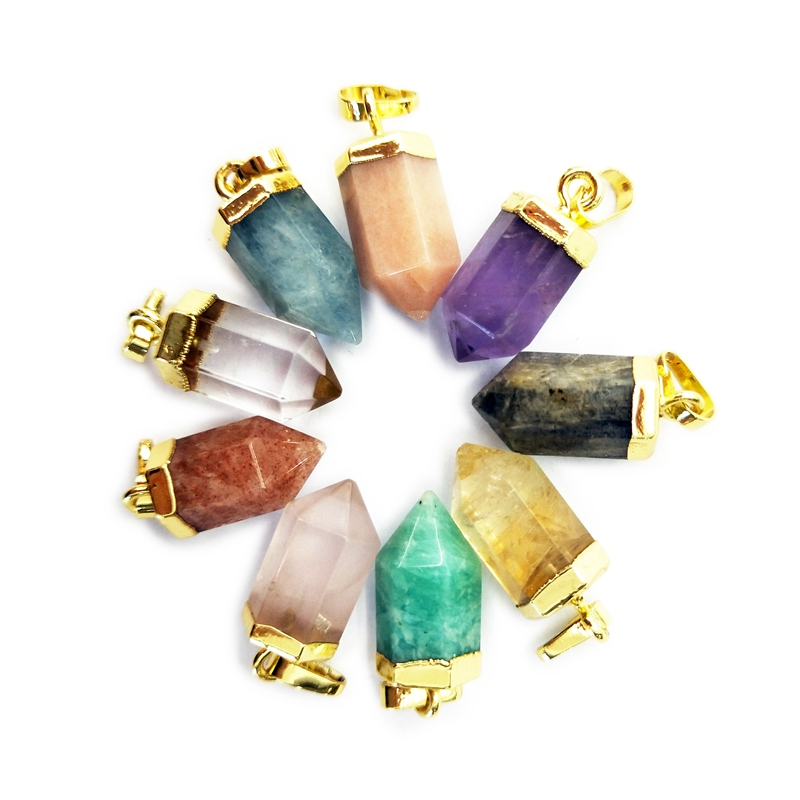 Wholesale Natural Crystal Quartz Point Pendants Gold Cap Bullet Shape Positive Energy Healing Rock Crystal Jewelry