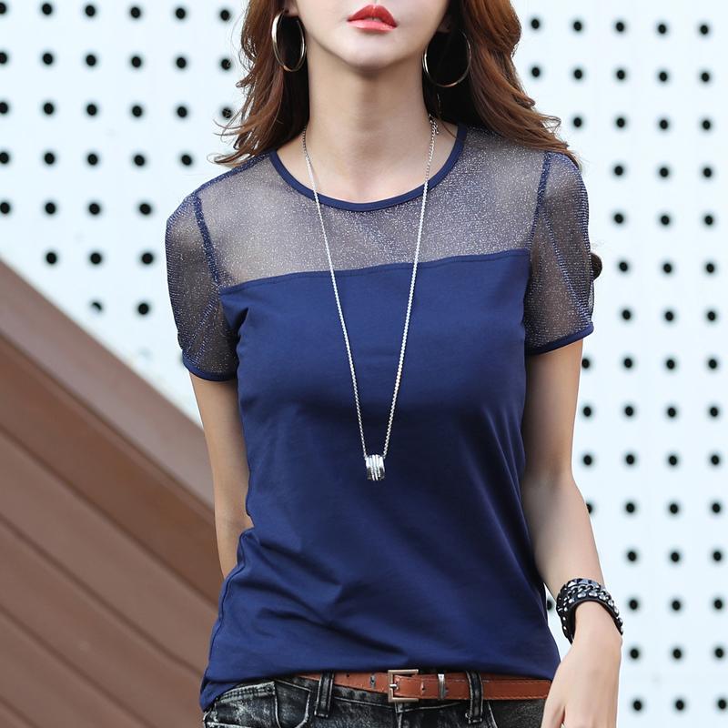 2020 летний женский топ с коротким рукавом, элегантная белая футболка, Женская Офисная рубашка из прозрачного хлопка, Blusas Mujer LX1707(Китай)