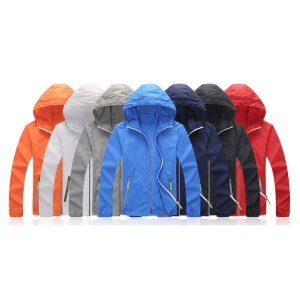 ultra thin sun protection windbreaker jacket with reflective zipper for outdoor camping, cycling men women