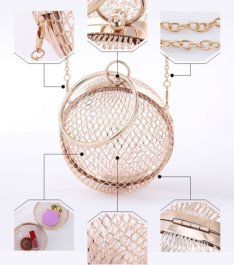 Wholesales Novelty Girls Purses Metal Handle Straps Handle Wire Meshes Handbag for Women Evening Bags