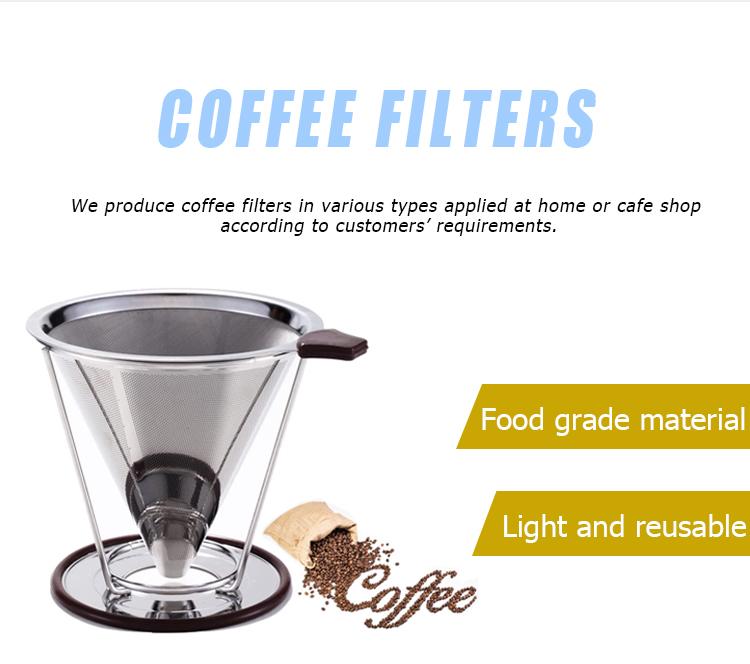 Goutteur de café v60 réutilisable, en acier inoxydable, filtre, avec support