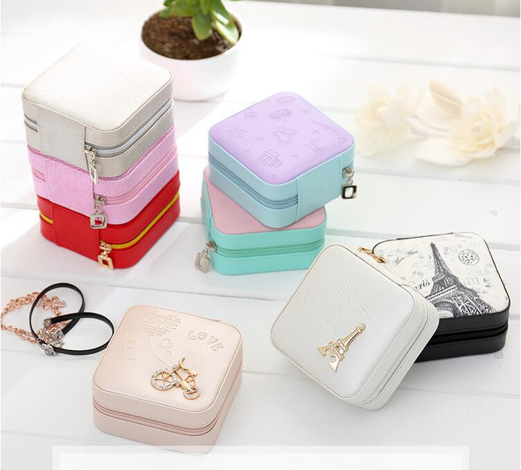 F1 Women Girl PU Monolayer Small Simple Organizer Portable Jewellery Jewel Case Packaging Gift Boxes Travel Earring Jewelry Box