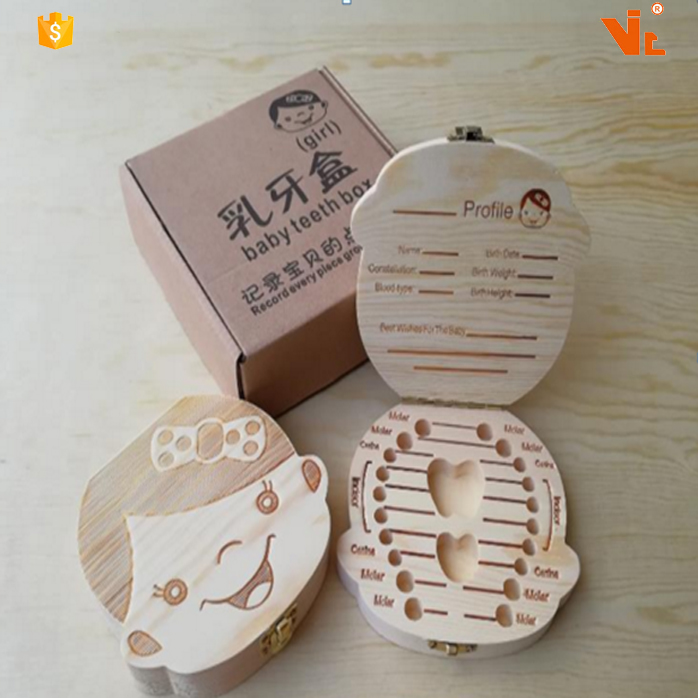 V-TB-03 Cute Baby Teeth Box Save <strong>Wooden</strong> Boxes Personalized Deciduous Souvenir Box