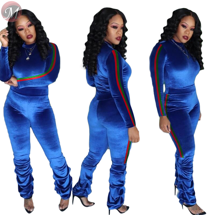 9111507 design fashion side stripe solid pleuche heaps trouser 2019 women clothing two piece sets