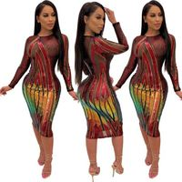 KG2438 newest nightclub see through long sleeve sequin bodycon Animal Print Casual Long See Through Dress