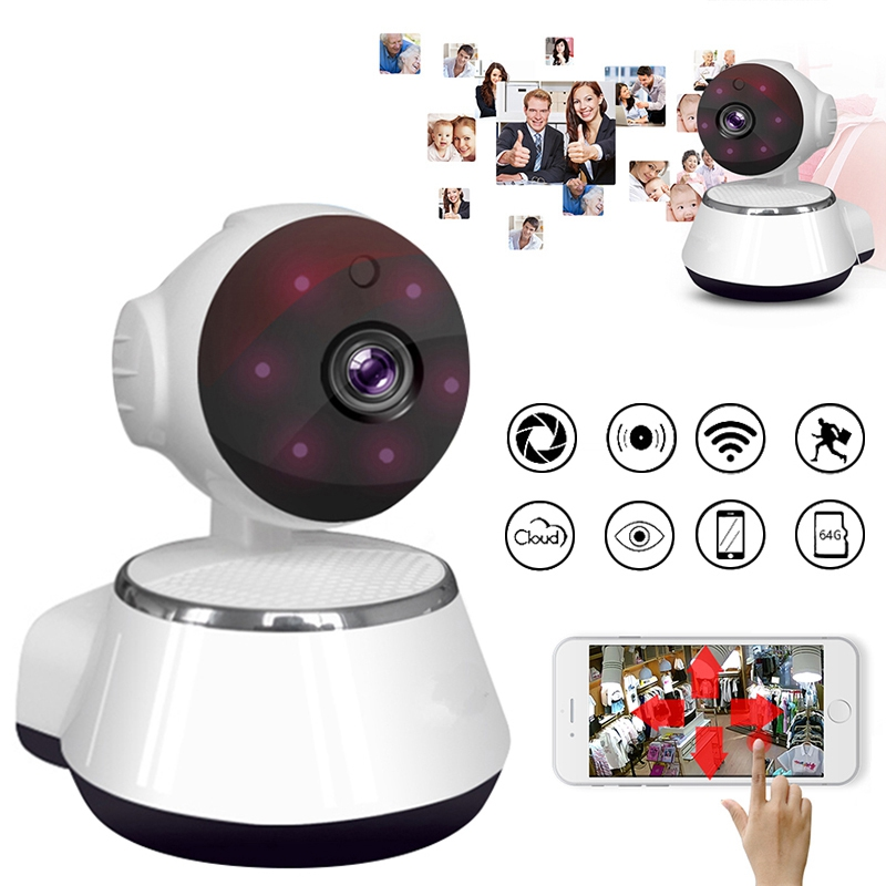 Baby Monitor 720P Mini Wifi IP Camera Nightvision Two Way Audio Motion Detection Remote Access Pan/Tilt Camera V380