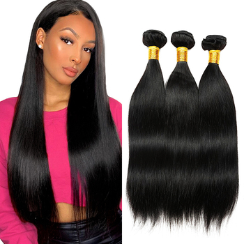 2020 Hot sale Cheap indian 100% virgin human hair natural color silky straight hair extension bundles with lace closures