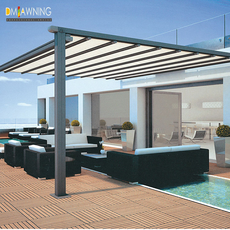 Automatic aluminum garden pergola canopy with side shades