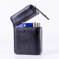 Guangdong factory Case for Cigarette Box Made of PU Leather with Extra Pocket slot for a Lighter