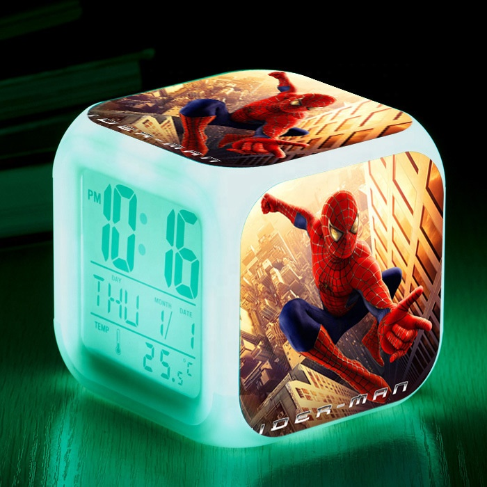 Cube alarm clock light colors changing desk table clock for children kids digital promotion logo gift thermometer calendar clock