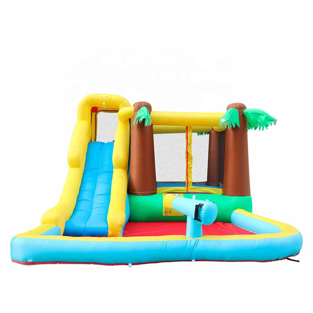 Fun Air Slide Palm Tree Bounce House Inflatable Water Slide with Blower