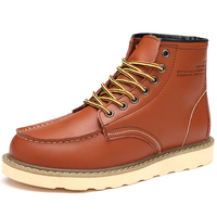 Wholesale Moc Toe Men Work Boots Shoes High Top Leather Casual Shoes Men Ankle Chukka Boots