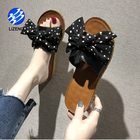 Casual Slippers Summer Wave Point Fashion Bohemia Sweet Bow Point Sandals Flat Roman Casual Slippers