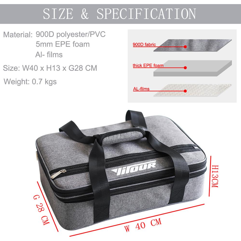 Expansion Capacity Cooler Handle Bag 900D oxford Waterproof Outdoor Lunch Bag Gray Elegent Picnic Bag