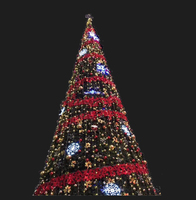 Outdoor Shopping Mall decoration Green Artificial led giant lighting christmas tree