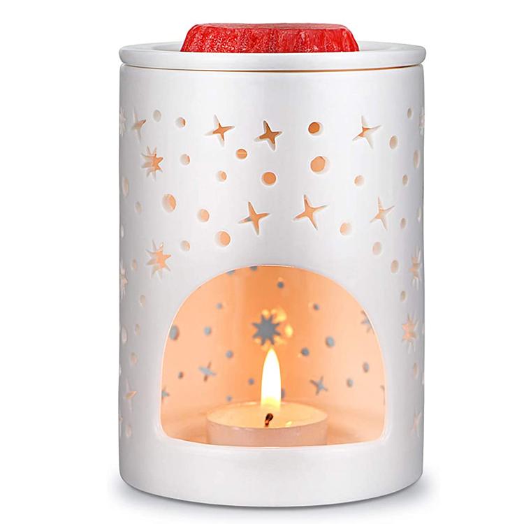 Blanco hueco eléctrico candelita personalizado diseño barato derretir cera quemadores de cerámica