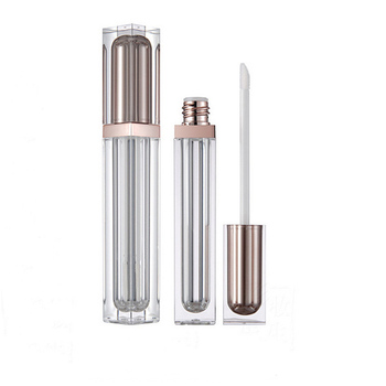 Zelight Private Label OEM Stock Product High Quality Empty Square Plastic Lip Gloss Tube With Brush Container
