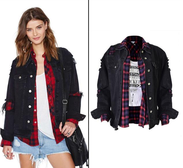 Women's Loose worn-out motorcycle couple jacket denim coat black plus size women's jacket