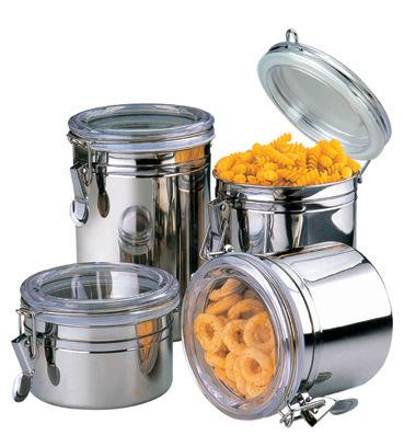 4pcs खाद्य सील Airtight दौर रसोई स्टेनलेस स्टील कॉफी चीनी चाय की बोतलें मसाला जार खाद्य भंडारण कनस्तर सेट