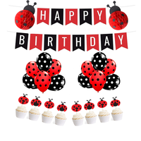 Ladybug Birthday Party Decorations Supplies Kit Ladybug Happy Birthday Banner Cake Topper Birthday Decoration