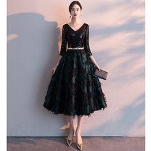 Женское вечернее платье It's Yiiya, элегантное черное платье до колена с коротким рукавом и v-образным вырезом, большие размеры, LF223(Китай)