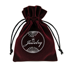 Custom printed velvet bag pouch for jewellery gift with drawstring