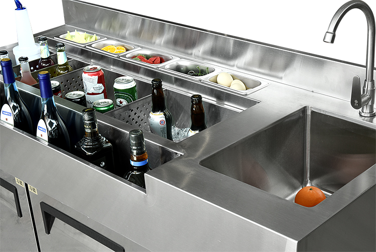 Professional Design Stainless steel Customizable Commercial Cocktail Station Operating Table For Bars/Pub/Cafe With Faucet Sink