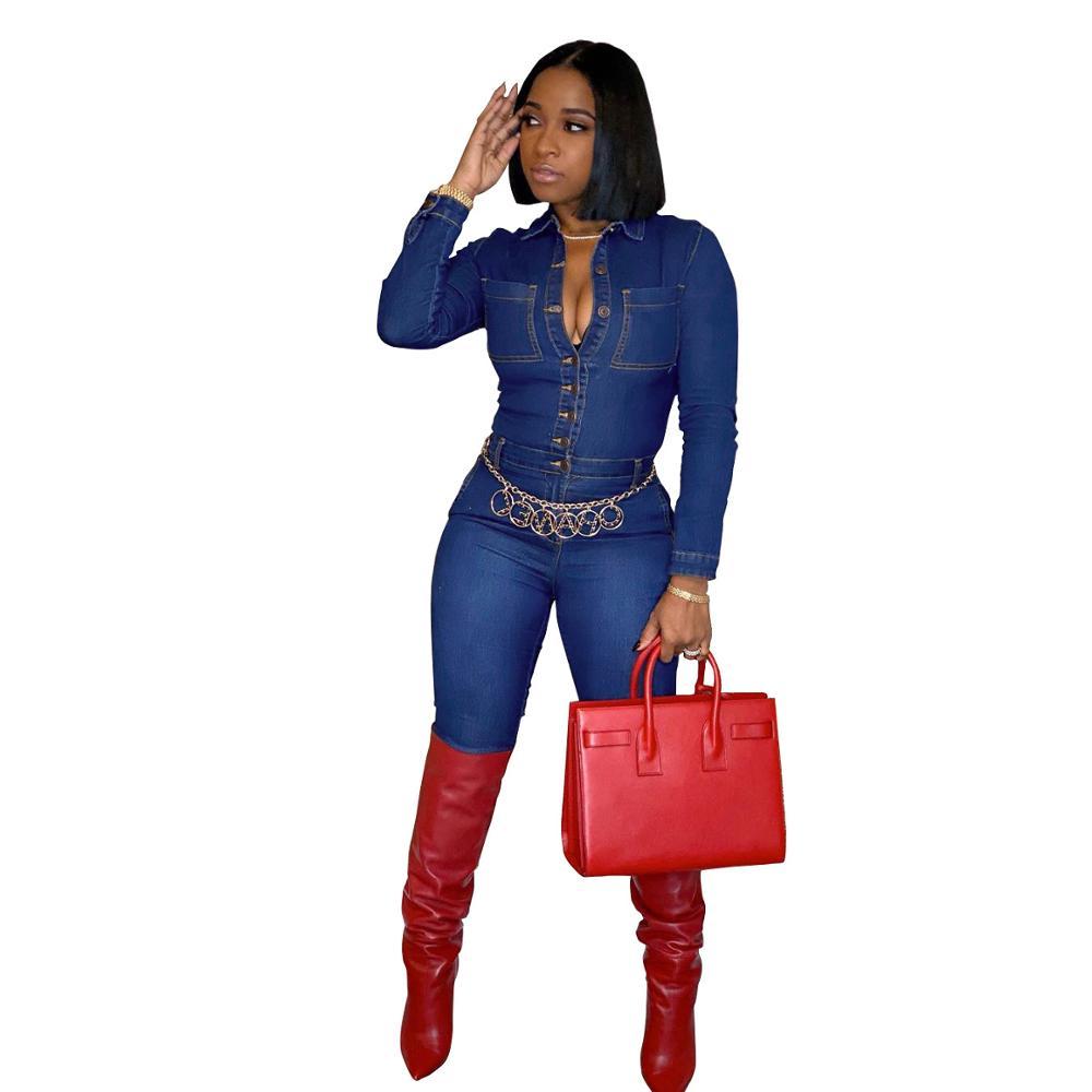 latest design sexy fashion slim fit female fall long sleeve bodycon womens high quality jumpsuits denim