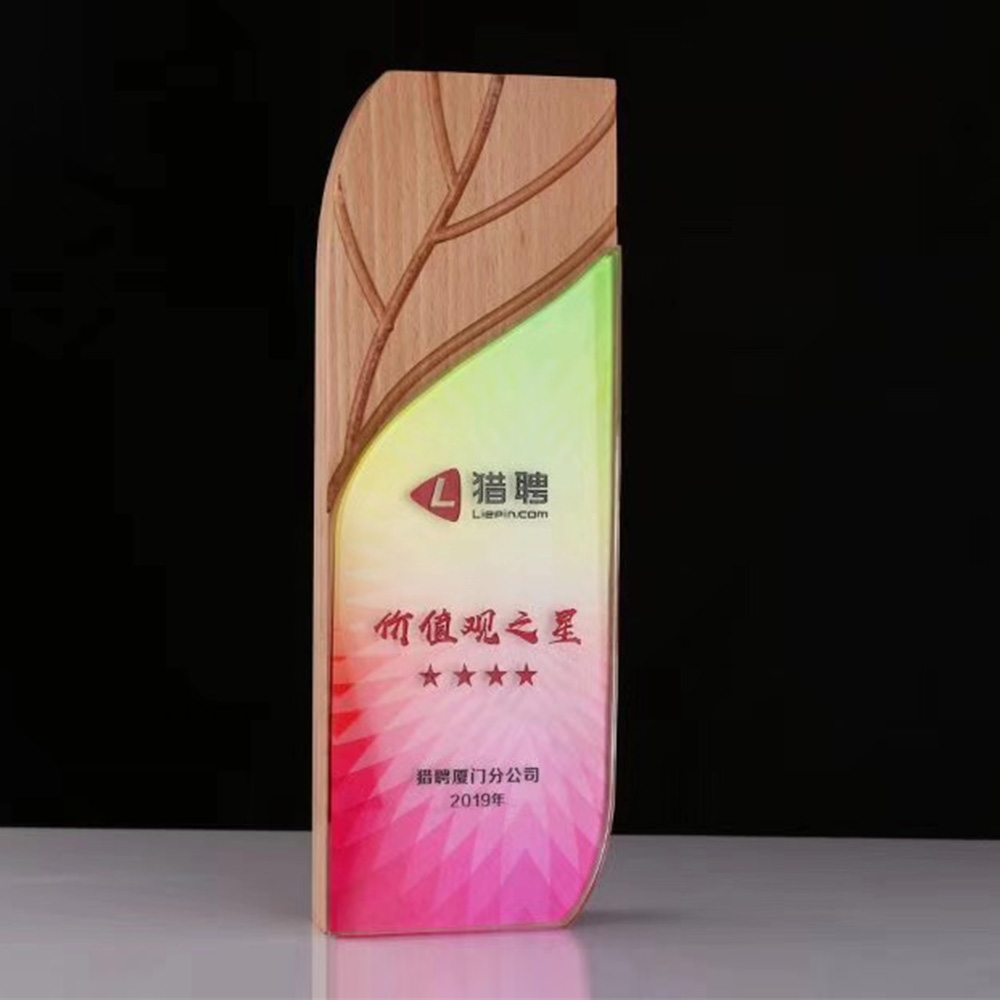 New design wood and crystal star gift trophy award