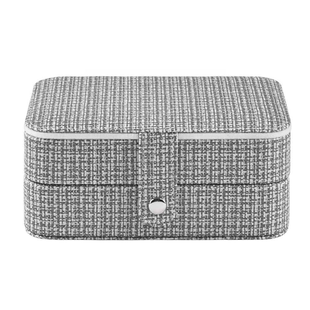 Custom double-layer portable travel zipped leather jewelry storaging box Jewelry Organizer
