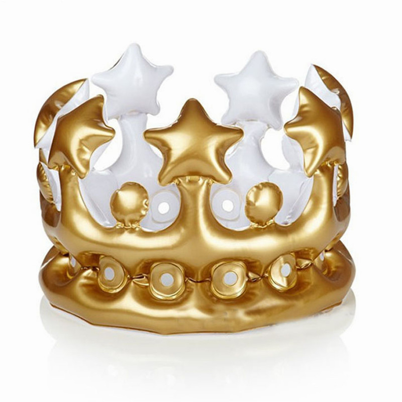 Promotional inflatable pvc inflatable gold crown hat