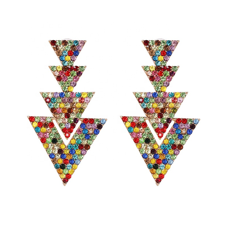 2020 Korean Earrings Jewelry Women Girls Flowers Crystal Rose Gold Color Stud Clover Shape bling Earrings