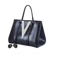 free sample summer shopping tote beach bag ladies v-type draw Neoprene purses handbags personalized shoulder hand bags for women