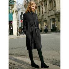 Amii минималистичное платье-рубашка, Осеннее женское свободное платье в полоску с поясом, женские длинные платья 11940037(Китай)
