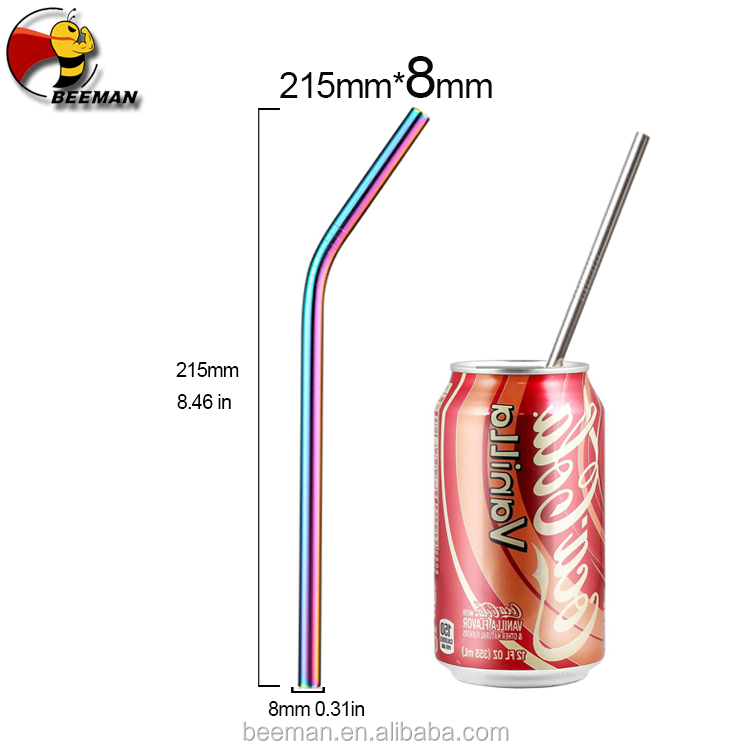 Beeman 20% Discount 215mm*8mm Various Size Stainless Steel Color Metal Straw Gold